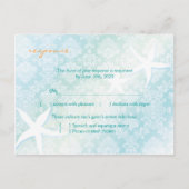 Starfish & Jeweled Damask Wedding RSVP (4.25x5.6) postcard