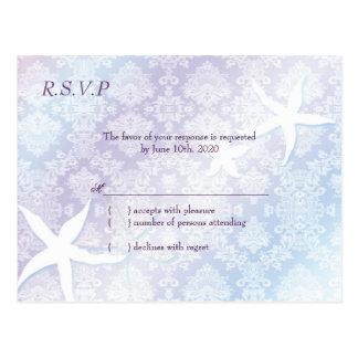 Starfish + Jeweled Damask Wedding RSVP (4.25x5.6) Postcard