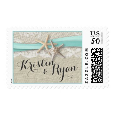 Wedding Themed Starfish Lace and Aqua Ribbon Postage