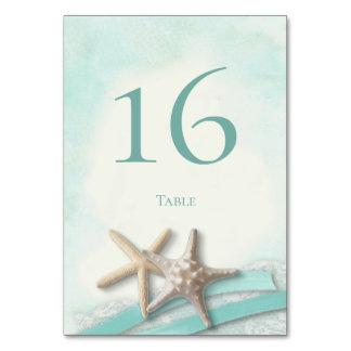 Starfish Lace and Aqua Ribbon Table Number Card