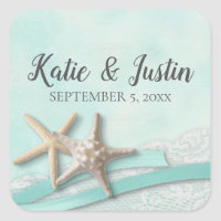 Starfish Lace and Ribbon Romantic Beach Wedding Square Sticker
