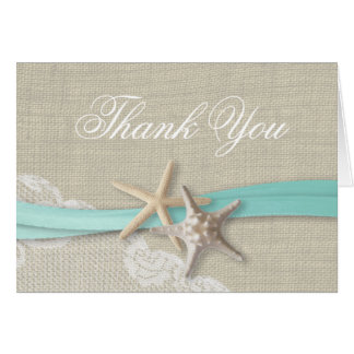 Starfish Lace and Ribbon Thank You