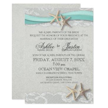 Beach Themed Starfish Lace Grey and Aqua Wedding Card