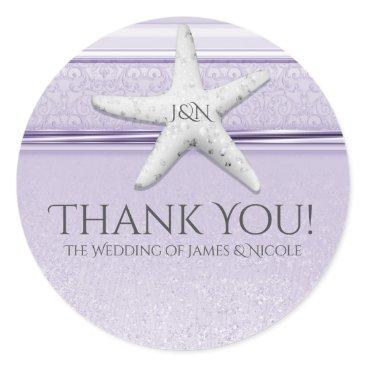 Beach Themed Starfish Lavender Purple Elegant Beach Favor Classic Round Sticker