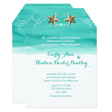 Beach Themed Starfish Mint Aqua Destination Beach Wedding Card