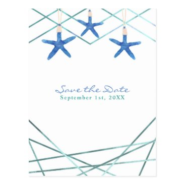 Beach Themed Starfish & Modern Line Elegant Beach Save the Date Postcard
