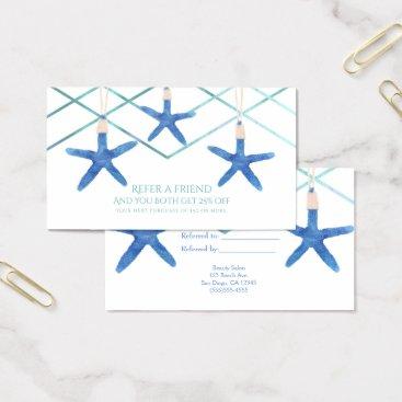 Beach Themed Starfish & Modern Lines Beach Refer a Friend Card