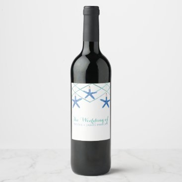 Starfish & Modern Lines Elegant Beach Custom Wine Wine Label
