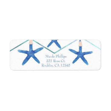 Beach Themed Starfish & Modern Lines Elegant Beach Invitation Label