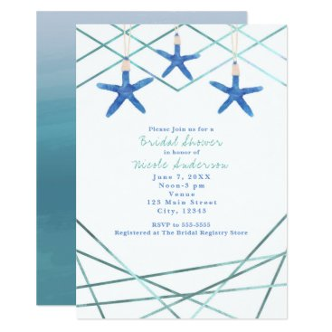 Beach Themed Starfish & Modern Lines Elegant Beach Invitations