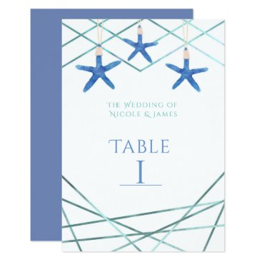 Beach Themed Starfish & Modern Lines Elegant Beach Table Number Card