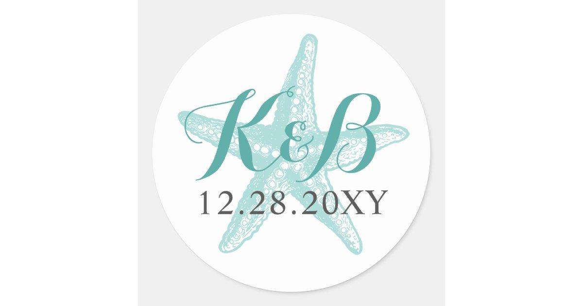 Starfish Monogram Beach Wedding Seal Sticker Zazzle Com