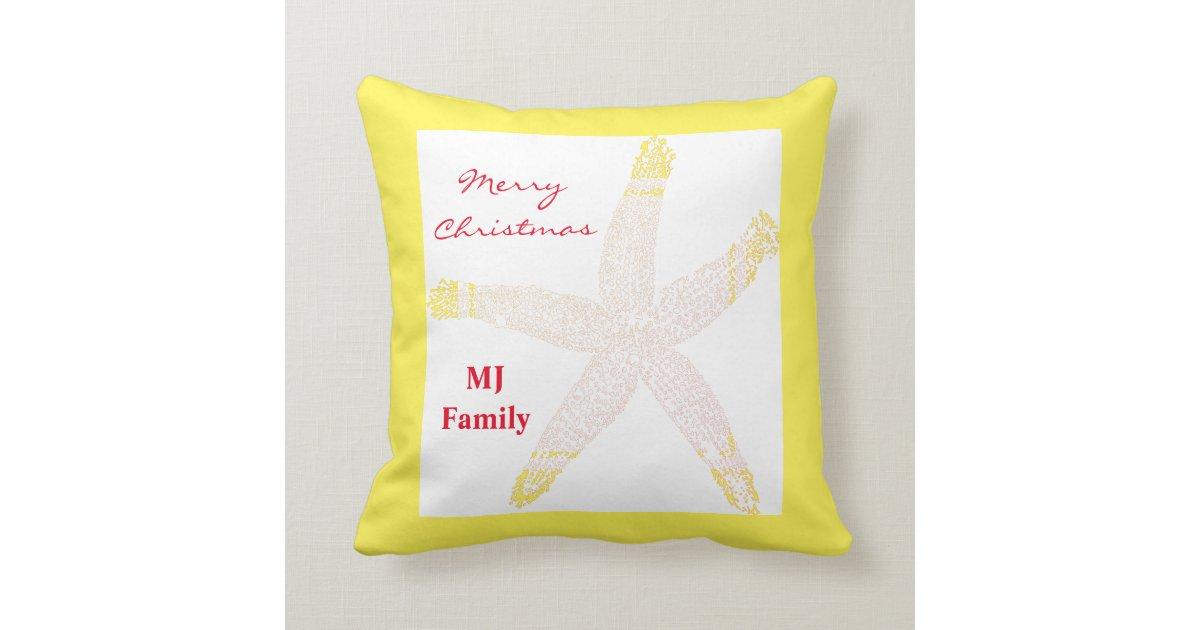 Starfish Monogram Initials Christmas Yellow White Throw Pillow Zazzle Com