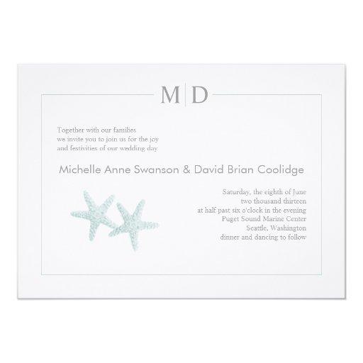 Starfish Monogram Wedding Invitation + Mint
