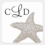 Starfish Monogram Wedding Square Sticker