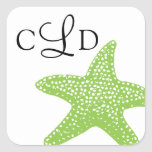 Starfish Monogram Wedding Stickers