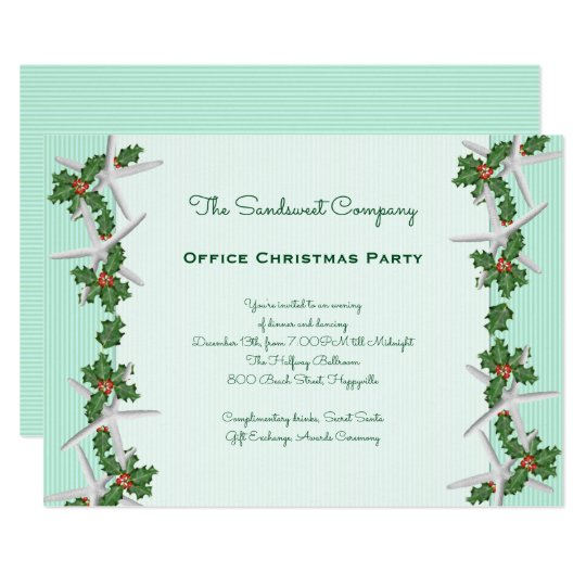 Office Christmas Party Invitation.Starfish N Holly Borders Office Christmas Party Invitation