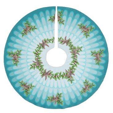 Christmas Themed Starfish n Holly Christmas Wreath Aqua Blue Brushed Polyester Tree Skirt