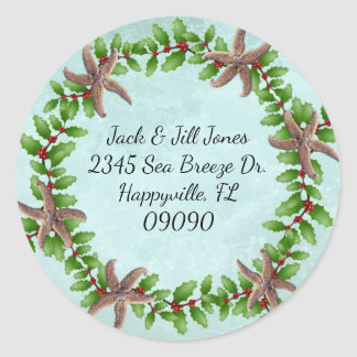 Starfish n Holly Wreath Splash Christmas Classic Round Sticker