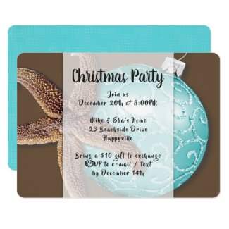 Starfish n Ornament Coastal Christmas Party Invite