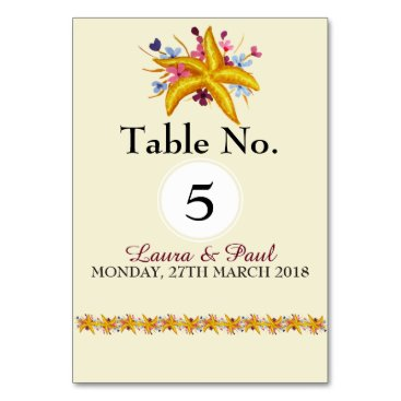 Starfish Nautical Floral Table Card