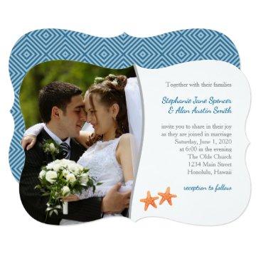 Beach Themed Starfish Nautical Photo Wedding Invitation