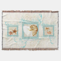 Starfish Nautilus Conch Sea Shells Ocean Greek Key Throw Blanket