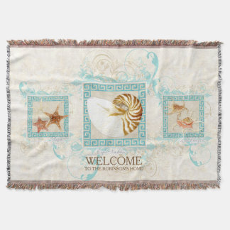Starfish Nautilus Conch Shell Ocean Personalized Throw