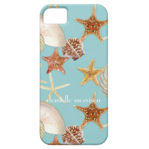 Starfish Nautilus Scallop Sea Shell Modern Pattern iPhone 5 Cases