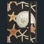 """Starfish Nautilus Scallop Sea Shell Modern Pattern iPad Air Cover<br><div class=""""desc"""">COLOR PALETTE: black, cream, tan, red, and brown. DESIGN COLLECTION: These beautiful coastal beach gathered, ocean growing seashells, sea shells were hand watercolored by Audrey Jeanne Roberts and are delicately rendered with great detail. There are several varieties of starfish, a scallop shell, and the inside view of a Nautilus shell....</div>"""