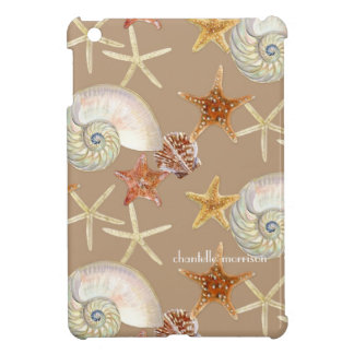 Starfish Nautilus Scallop Sea Shell Modern Pattern iPad Mini Covers