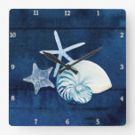 Starfish Nautilus Sea Watercolor Shells Beach Blue Square Wall Clock