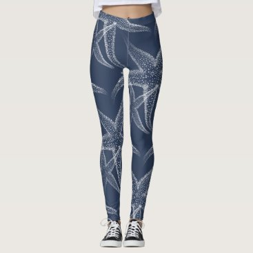 Beach Themed Starfish Navy Blue Beach Leggings