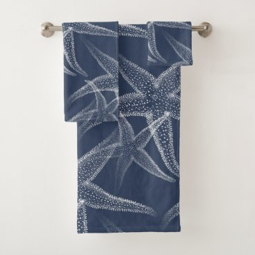 Beach Themed Starfish Navy Blue Beach Towel Set