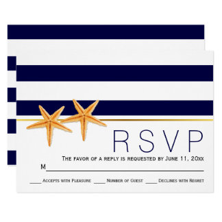 Starfish & navy blue stripes beach wedding RSVP Card