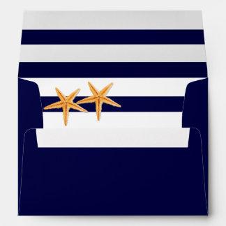 Starfish navy blue, white stripes monogram wedding envelope