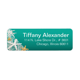 Starfish Netting Beach | aqua Return Address Label