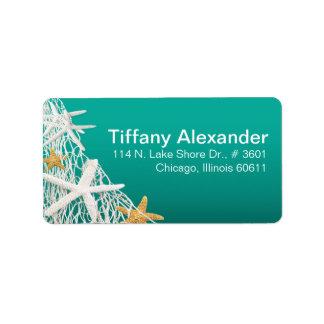 Starfish Netting Beach | aqua Address Label