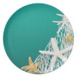 Starfish Netting Beach | aqua Melamine Plate