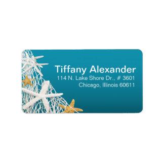 Starfish Netting Beach | azure blue Address Label