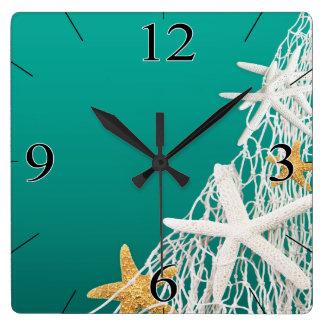 Starfish Netting Beach Coastal Living | aqua Square Wall Clock