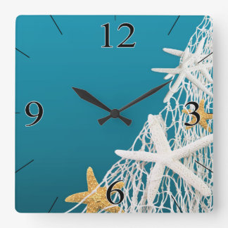 Starfish Netting Beach Coastal Living | azure blue Square Wall Clock