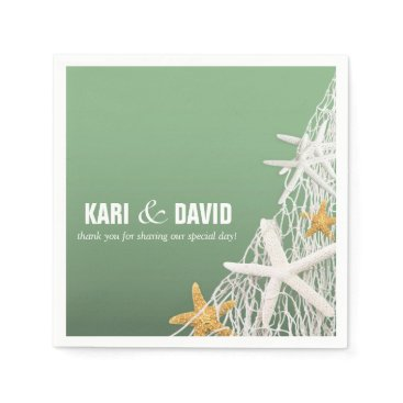 Beach Themed Starfish Netting Beach Cocktail Party | jade Paper Napkin