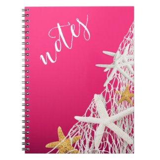 Starfish Netting Beach | fuschia Spiral Notebook