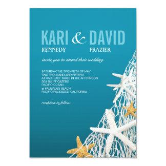 Starfish Netting Beach Wedding   azure blue Card