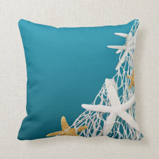 Starfish Netting Beach Wedding | azure blue Throw Pillows