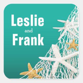Starfish Netting Beach Wedding Favor | aqua Square Sticker
