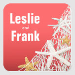 Starfish Netting Beach Wedding Favor | coral Square Sticker