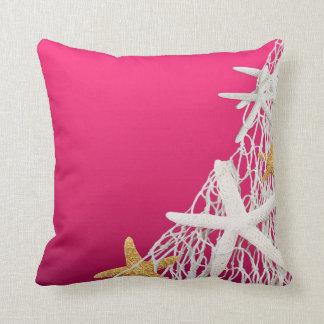 Starfish Netting Beach Wedding | fuschia Throw Pillow