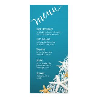 Starfish Netting Beach Wedding Menu   azure blue Card
